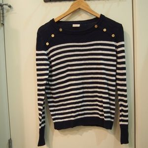 J.Crew Navy and White Striped Sweater